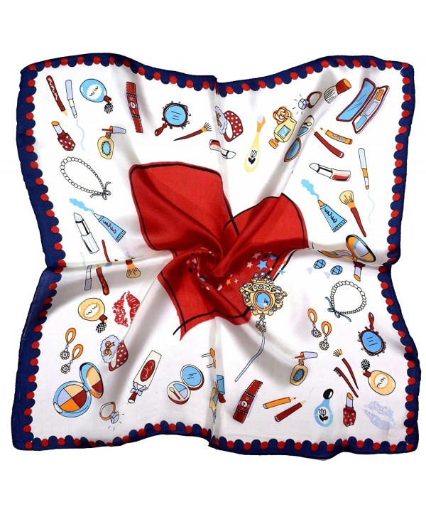 Red Blue Heart Makeup Printed Small Fine Silk Square Scarf - C912NDXBMKZ