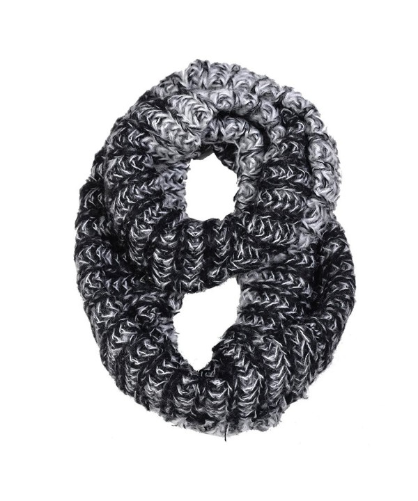 HUE21 Women's Comfy Two Tone Basic Knit Infinity Scarf - Black - C911QN011D3