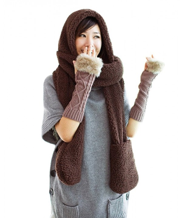 Tonwhar Womens Cute Winter Thick Warm Long Hooded Scarf with Mittens - Coffee - CK11PH7SBP9