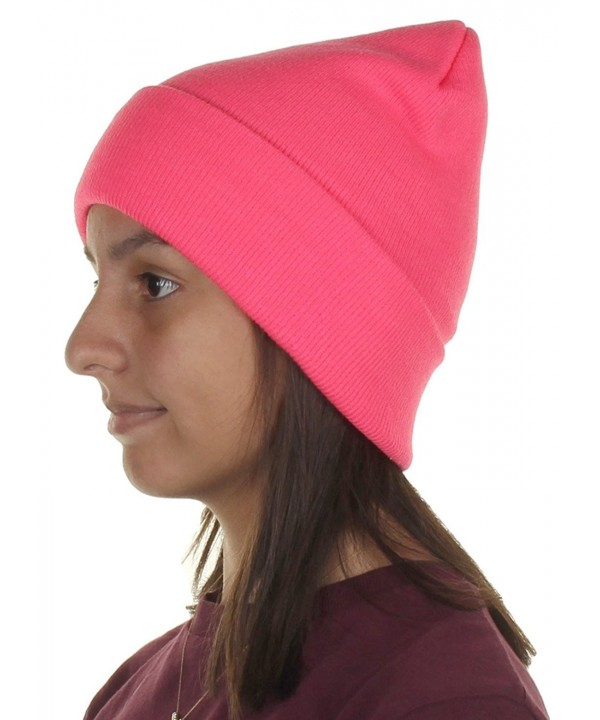 Knit Cuffed Beanie In Bright- Neon Colors One size fits most - Pink - C212BJKNMIX