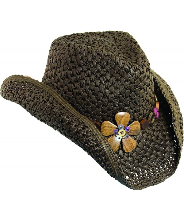 Dorfman Pacific Womens Paper Western Hat w/ Wood Flowers & Tail Feathers - Brown - CT119LNEOYH