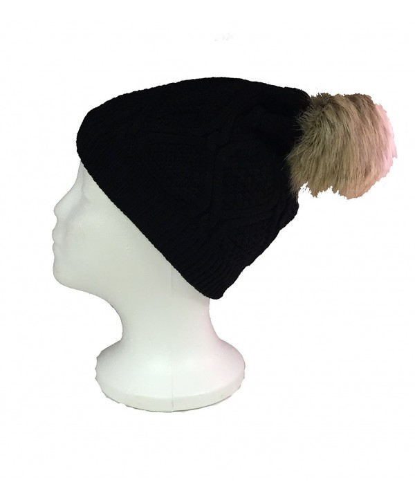 Women's Premium Faux Fur PomPom With Warm Fur Lining Knitted Slouchy Beanie Hat - Black - CX120AXG4H5