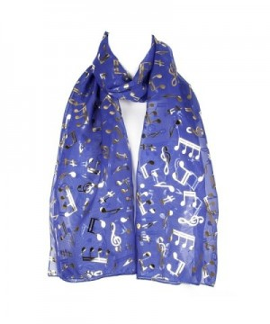 Musical Notes Chiffon Ladies Womens Scarf Shawl Wrap - Blue - C312EW8H019