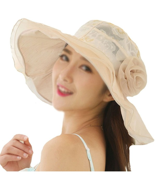 Monique Women Flower Lace Floppy Hat Wide Brim Sun UV Protection Sunhat Sun Hat Sun Visor - Beige - CY182RYEZ39