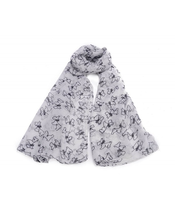 Women's Dog Puppies Print Scarf US SELLER - White - CH1868YOKN9