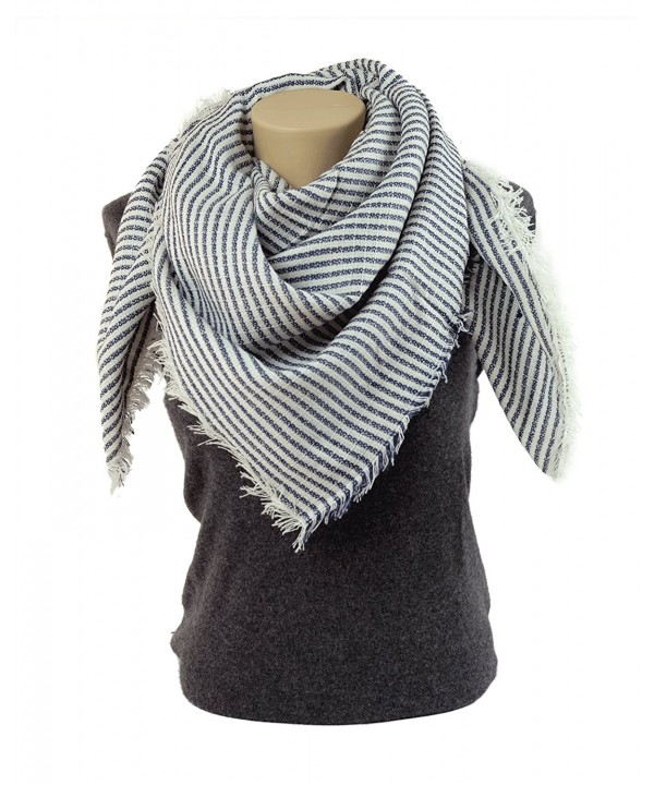 Winter Fashion Scarves for Women: Classic Blanket Shawl Wrap by MIMOSITO - Blue Stripes - C11873YR68A