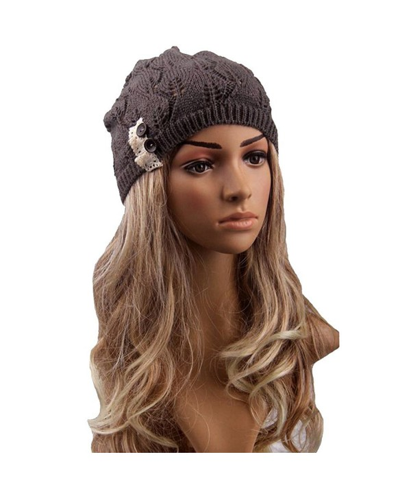 Womens Fashion Lightweight Cutout Crochet Knit Beret Beanie Hat with Side Button - Brown - CX12HGTUIZB