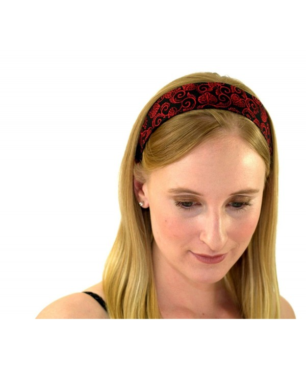 Skinny Headband Delicate Red Leaves Over Black Soft Boho Running Headwrap Womens - CY1148VTQX1