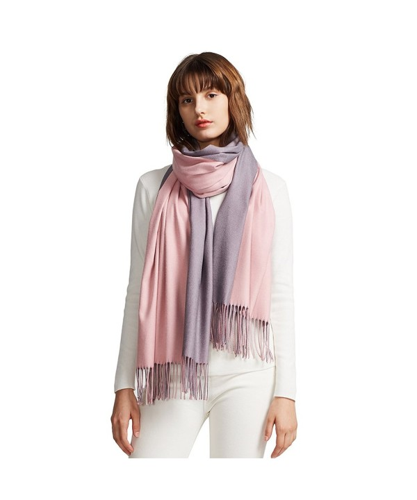 MaaMgic Womens Soft Cashmere Feel Pashmina Shawls Wraps Large Long Winter Scarf - Pink and Purple - CS185DWU42M