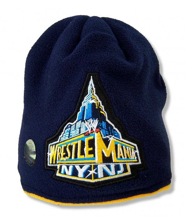 Adult WWE Wrestling Wrestlemania Navy Blue Fleece Beanie Hat - CZ11GEZ1UJH