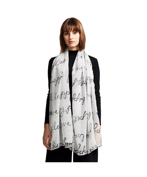 MaaMgic Womens Winter Large Long Love Pattern Scarf Ladies Scarf Wrap - White - C7185DXNCT0