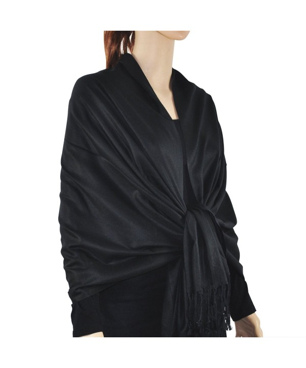 "Paskmlna Large Solid Color Pashmina Shawl Wrap Scarf 80"" X 27"" - Black1 - C312I75FPUV"