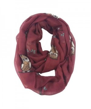 Lina & Lily Cute Owl on Tree Print Infinity Loop Scarf Lightweight - Red - CR11P8SAN57