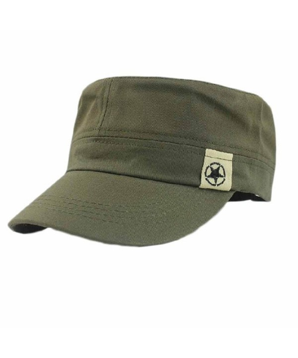 Makalon Fashion Unisex Flat Roof Military Hat Cadet Patrol Bush Hat Baseball Field Cap Army Green - CZ183MQ4E5O