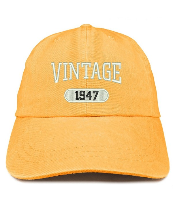 Trendy Apparel Shop Vintage 1947 Embroidered 71st Birthday Soft Crown Washed Cotton Cap - Mango - CW180WZWO7I