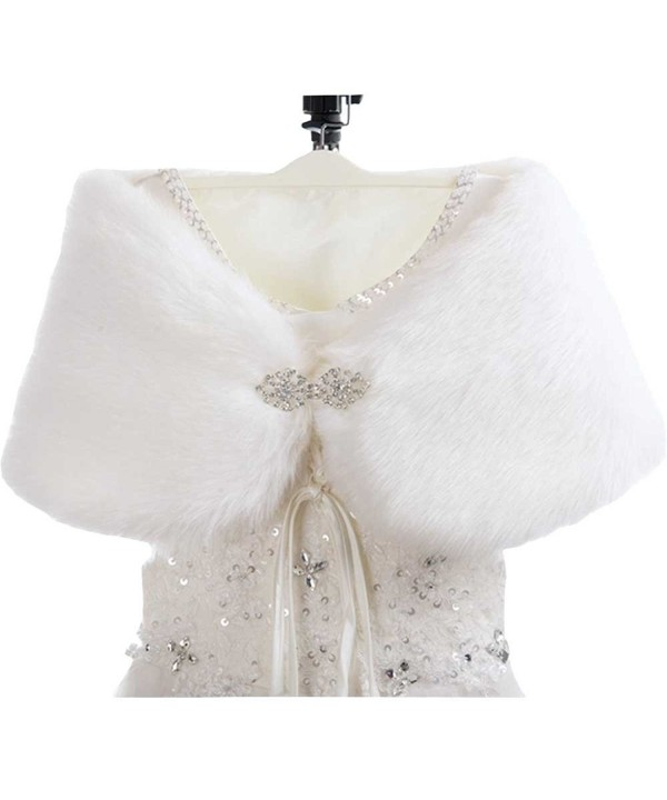 WDING Bridal Warm Fur Shawl White Wedding Bolero Wrap Cape Stole Women Coat - White-single Side Fur With Diamond - CS185SHD52M