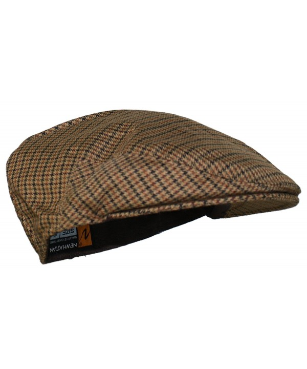 Ted and Jack - Street Easy Herringbone Driving Cap With Quilted Lining - Brown Check - C41875K6Q2L