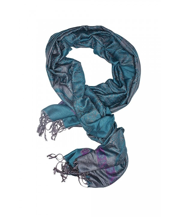 Ladies Pashmina Shawl Paisley Scarf Wrap With Fringe Fashion Scarves For Women (teal blue- gray- purple) - C312N2Q1B25