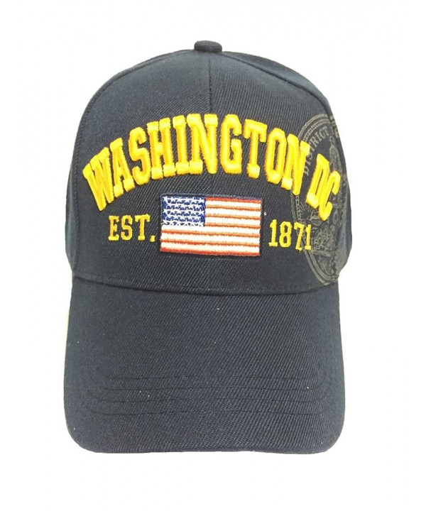 Aesthetinc American Flag Washington DC Baseball Cap with Great Seal Print Embroidered - Navy - CO11WQR6C45