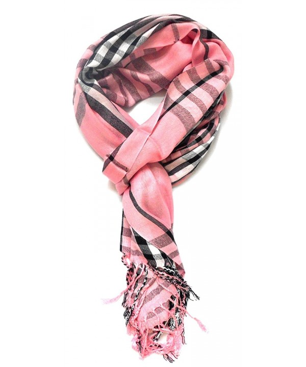 TitFus Classic Designer Inspired extended Plaid Scarf Wrap shawl throw large - Pink - CN11JZQZNTF