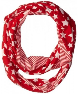 D&Y Women's Americana Stars and Stripes Jersey Loop Scarf - Red - CR120NP4TK5