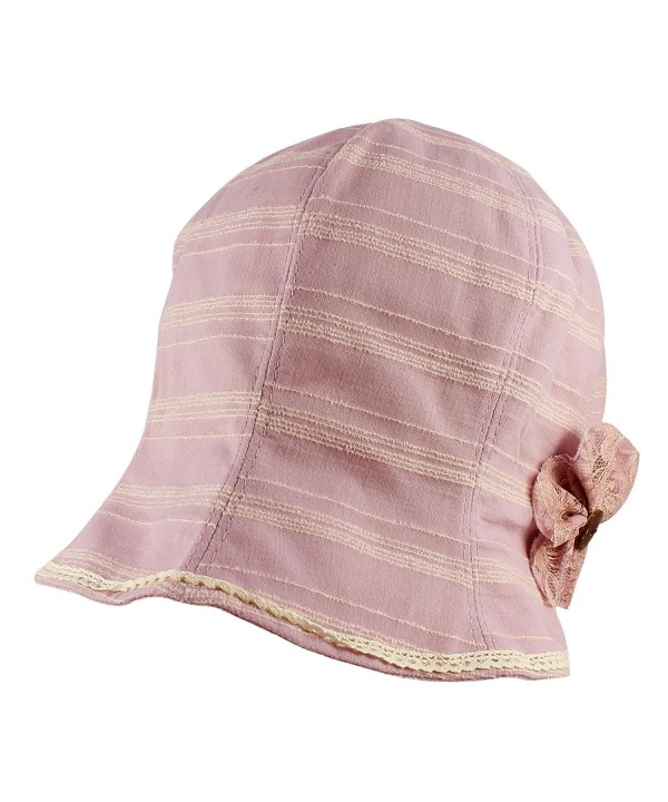 Morehats Striped Cotton Linen Cloche Bucket Packable Hat with Flower and Lace Trim - Lavender - C511MUGGBKR