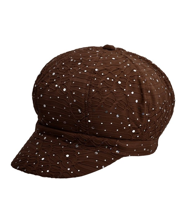 Cap911 Women's Sparkle Newsboy Hat Cap - Many Colors - Brown - CR11NK9WYD1