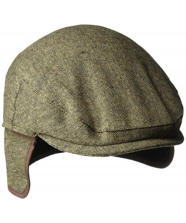 Country Gentleman Men's Ainsley Flat Ivy Cap with Ear Laps - Brown Tweed - CN127F3Q3UR