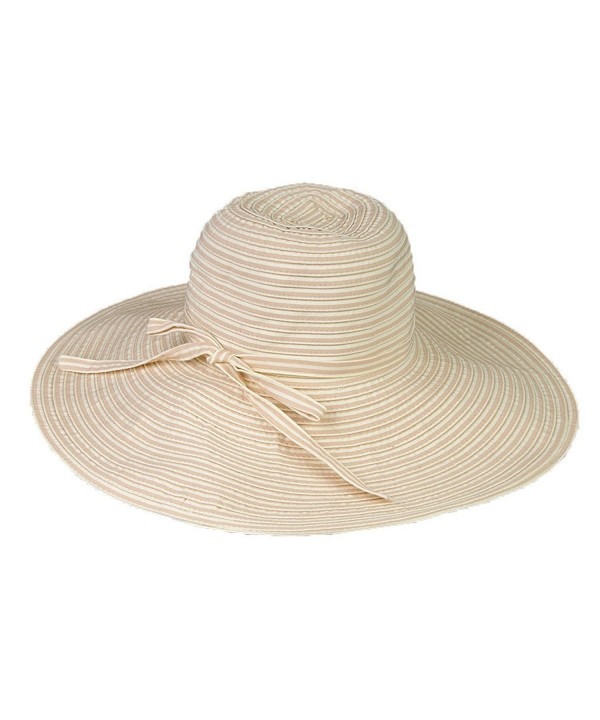 "UPF 50+ Protective Packable Striped Travel Hat- 4"" Brim - HS353 - Beige - CT1145M899Z"