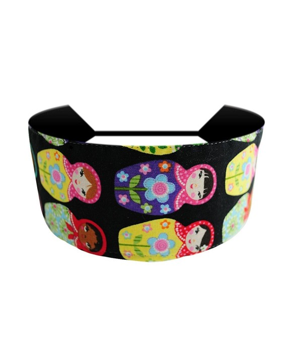 Multicolor Russian Nesting Dolls Over Black Matryoska Soft Fabric Headband - C4114B1PS5X