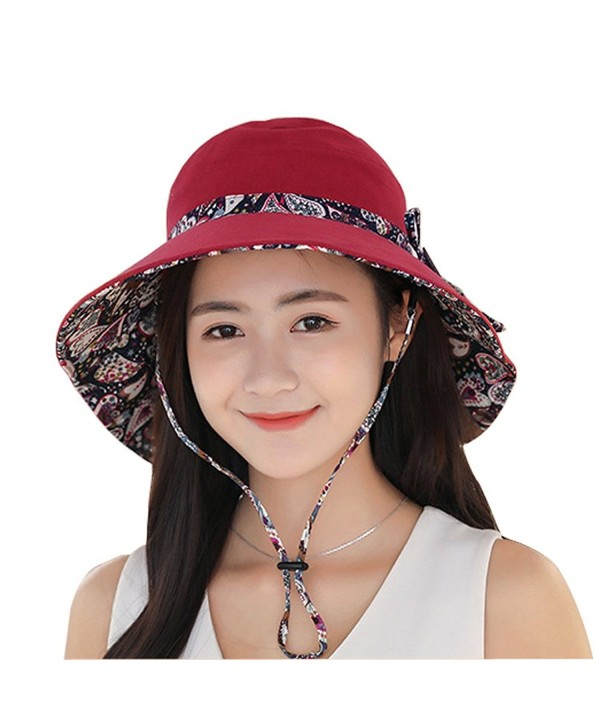 BOBIBI Womens Sun Hat Summer Reversible UPF 50+ Beach Hat Foldable Wide Brim Cap With Neck Cord - Wine - CF183Y0H3ST