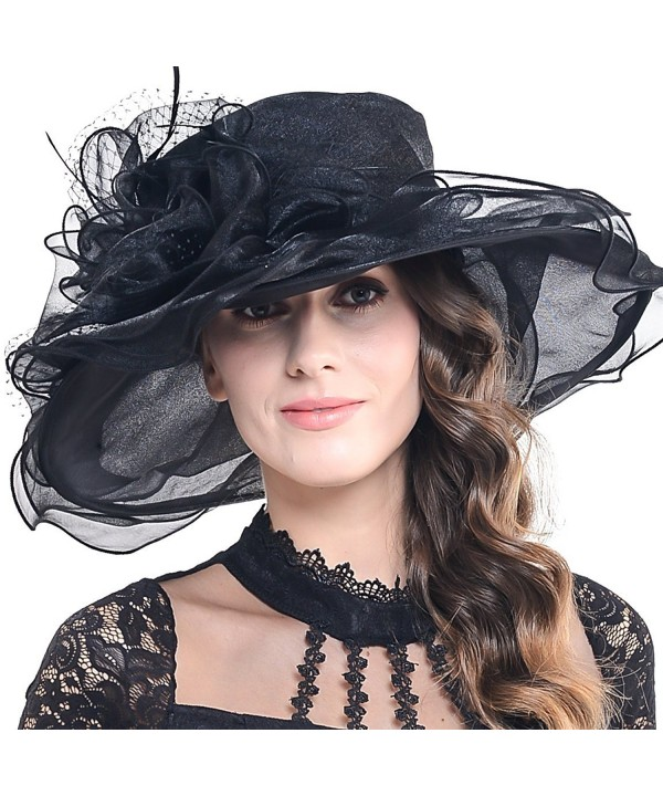 Fanny Women Voile Fascinator Church Formal Party Hat W042 - Black - CT11VA59IXF