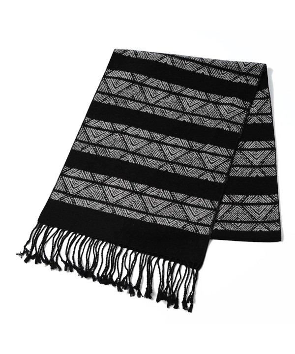 CUDDLE DREAMS Scarves Brushed CLEARANCE - Black White Stripe Design - CA187KIRAQY