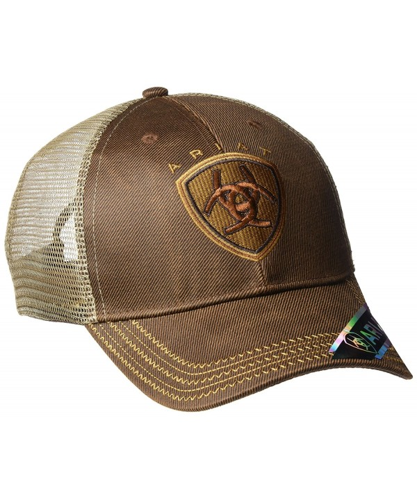 Ariat Men's Oil Skin Mesh Snap Back Hat - Brown - CD11Q4Z38XX