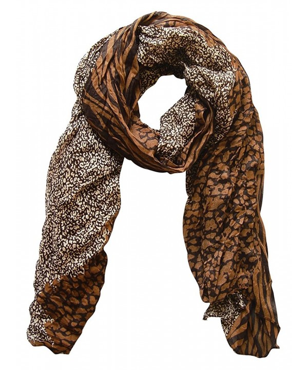 Peach Couture All Seasons Retro Zebra and Leopard Print Crinkle Scarf - Coffee - CU12NH0CF6S