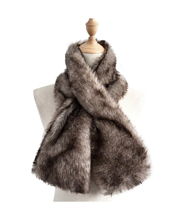Yetagoo Women Winter Soft Faux Rabbit Fur Collar Scarf Stole Both Side Hair Scarf Shawl - Gray - C0187K7I55L