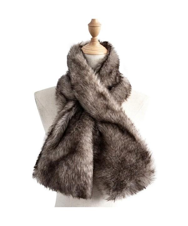 Yetagoo Women Winter Soft Faux Rabbit Fur Collar Scarf Stole Both Side Hair Scarf Shawl - Gray - C0187K7I55L