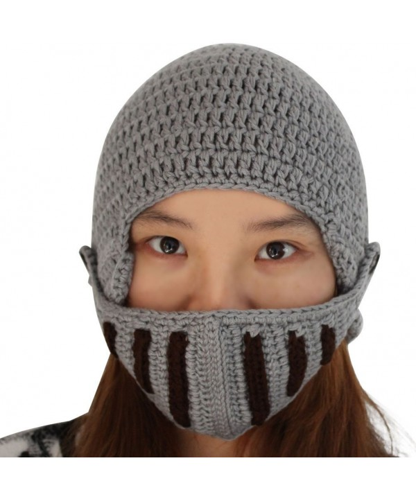 eYourlife2012 Unisex Winter Handmade Crochet Knight Hat Beanie Removable Mask - C211H0YQJAZ