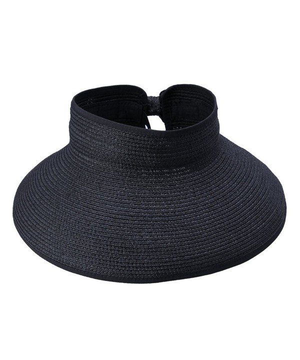 ACVIP Women Straw Sun Hat Adjustable Beach Cap Roll up Open Top Visor - Black - C211KU7SWRD