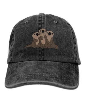 ONE-HEART HR Cute Sea Otters Stylish Baseball Caps Denim Adjustable Hats - Black - CS1855GY4ZE