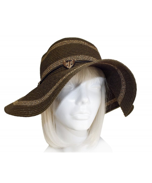 Widel-Brim Straw Summer Floppy Hat ST68 Brown/Gold - CR11Y3O9XRR