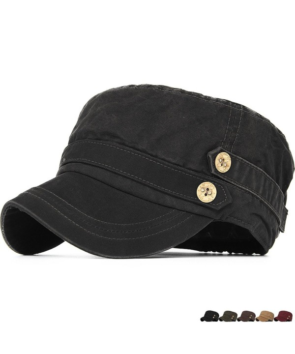 REDSHARKS Cadet Caps Military Hats Fit For Unisex Adult Low Profile Elastic - Black - C6185UG53M4