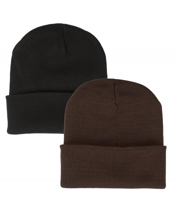 2 Pack Beanie Hats Assorted Colors 11.5 Inches Long Skull Caps - 8 Colors Available - Black & Brown - CW188CK80CX
