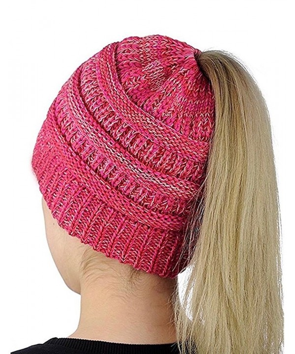 AP WorldWide Ponytail Beanie: Soft- Stretch- Cable Knit- Warm- Casual- Fitted- Hat - Pink - CB1896HRK2G