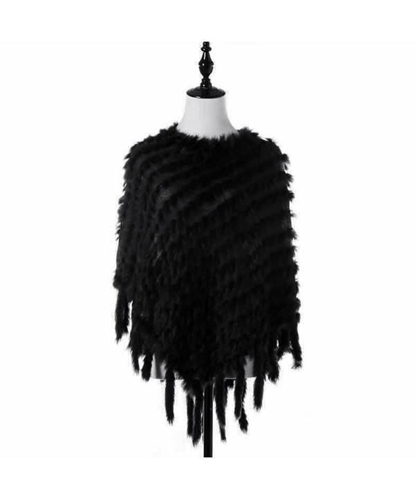 Raylans Faux Rabbit Fur Tassel Knitted Cape Stole Shawl Poncho Scarf Wrap Coat - Black - CQ12N8VMZSP