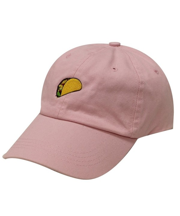 City Hunter C104 Taco Emoji Cotton Baseball Cap Dad Hats 15 Colors - Pink - CG12JQZ94NZ
