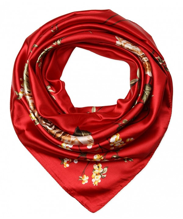 "35"" Women's Neckerchief Satin Smooth Scarf for Hair Wrapping at Night by corciova - 246 Carnelian - C812O1CUDBC"