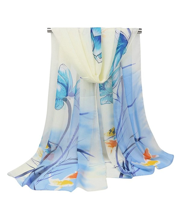 GERINLY Chiffon Scarves Lotus Flower Pint Sheer Neck Scarf - Beige+lightblue - CP1825996YL