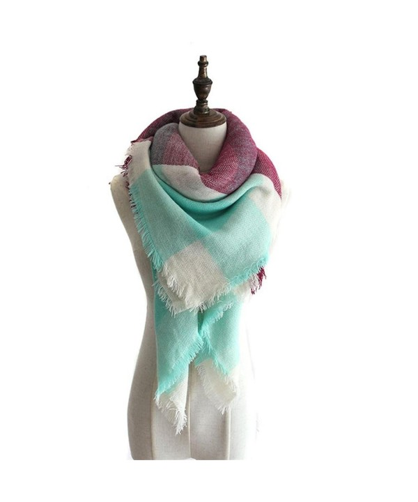 Women's Stylish Soft Plaid Warm Blanket Scarf Winter Large Gorgeous Wrap Shawl - Mint&purple - CS186CYGL2I