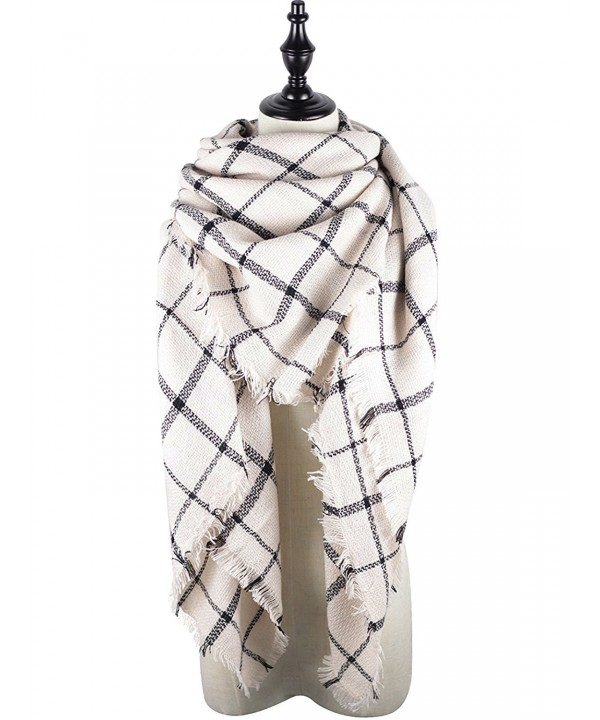 Womens Pashmina Classic Blanket Scarves - Beige Plaid - CW1887S9OSN